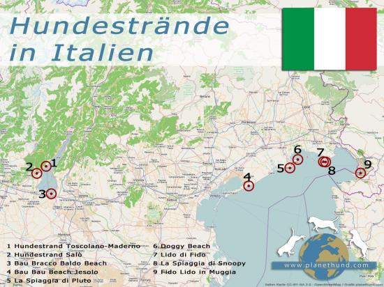 Hundestrände in Italien