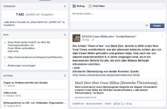 Facebook Communities gegen Cesar Millan