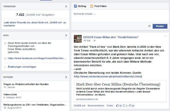 Facebook Communities gegen Cesar Millan