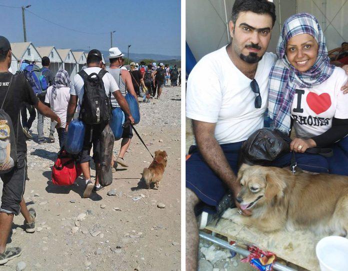 Syrische Flüchtlinge mit Hund