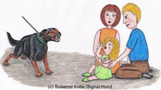 Hund bellt weinendes Kind