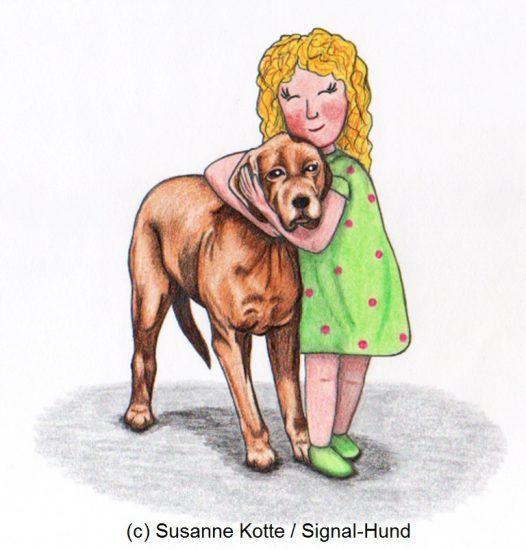 kund umarmt hund